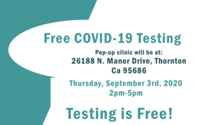 Free COVID-19 Testing: September 3rd